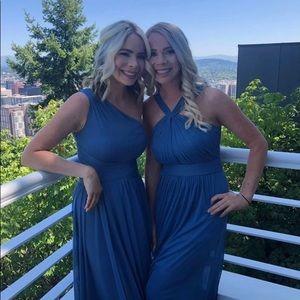 David's Bridal Dress, Steel Blue, Size 2.
